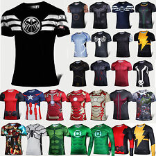 New Superhero Compression T Shirt Under Base Layer Sports Tee Top Jersey Cycling