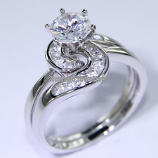 2.60 Ct Round Cut AAA CZ 925 Sterling Silver Wedding Ring Set Women's Size 6-9