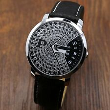 Fashion PAIDU Turntable Black/White Dial PU Leather Quartz Wrist Watch Men Women