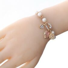 Fashion Bell Letter Crystal Bracelet Gold/Silver Plated Cuff Bangle Jewelry