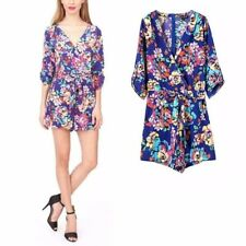 New Womens Sexy V-Neck Floral Print 3/4 Sleeve Shorts Jumpsuits Rompers Blue