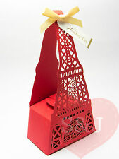 10 Eiffel Tower Red - Laser Cut wedding party bomboniere/favour boxes