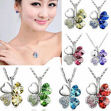 Crystal Four Leaf Clover Heart Pendant Necklace Shamrock charm chain New