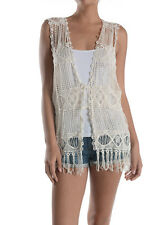 Women Summer Boho Sleeveless Front Open Lace Crochet Knit Fringe Cardigan Vest