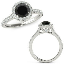 1.50 Carat Black Diamond Halo Half Eternity Wedding Fancy Ring 14K White Gold