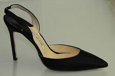New MANOLO BLAHNIK  Carolyne 105 Black Satin BB Skinny Heels SHOES 40.5 42