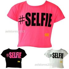 "GIRLS KIDS NEW SEASON # SELFIE ""PRINTED CROP TOP T-SHIRT  SIZE 7-13 YEARS BNWT"