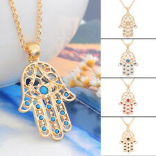 Charms Golden Hamsa Fatima Hand Beads Pendant Necklace Chain Gift