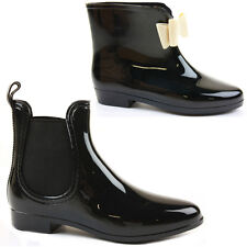 WOMENS LADIES FLAT JELLY FESTIVAL RAIN WELLIES WELLINGTON ANKLE BOOTS SHOES SIZE