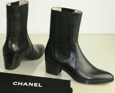 $1225 NEW CHANEL Leather CC Logo Short Midcalf Boots Shoes Low Heels Black