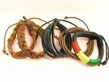 Men ADJUSTABLE Hemp LEATHER Braided Wristband Band CUFF Bangle BRACELET