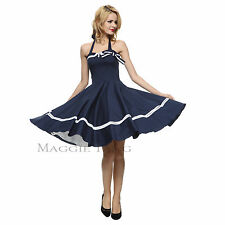 Maggie Tang 50s 60s VTG Pinup Nautical Sailor Rockabilly Swing Party Dress K-515