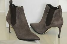 NEW MANOLO BLAHNIK Tungade 90 Grey Taupe Brown Suede Ankle BOOTS SHOES Heels