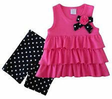 NEW Cutie Pie Baby Girl Pink Ruffle Top and Polka Dots Short Leggings 12 Months