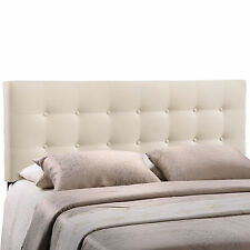 Upholstered Headboard Elegant Window Pane Button Tufted Design in Ivory