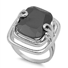 Bold Edgy Black CZ Ring, 925 Sterling Silver, One-Of-a-Kind, Everyday, Casual