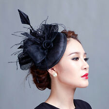 Women black handmade  cocktail hair hat fascinators ladies wedding party feather