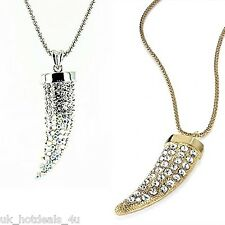 GOLD SILVER SNAKE CHAIN CRYSTAL DIAMANTE LARGE TUSK HORN TOOTH PENDANT NECKLACE