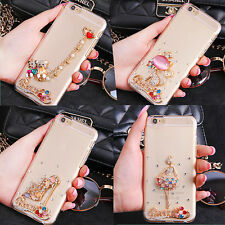 Luxury Crystal Diamond 3D Bling Back Case Cover For LG Samsung Galaxy Cell Phone