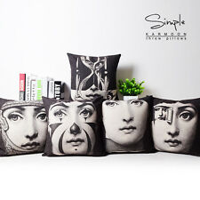 "New Fornasetti Beauty Face Linen Pillow Case Decorative Art Cushion Cover 18""x18"