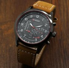 CURREN Fashion Cool Brown Leather Sport Quartz Wrist Watch Men Watches Analog