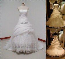 STOCK New Lace White/Ivory Formal Bridal Gown Wedding Dress Size 6-8-10-12-14-16