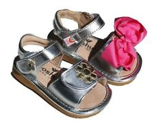MOOSHU Trainers Squeeker Shoes NEW Silver Sandal Add A Bow sz 3-9