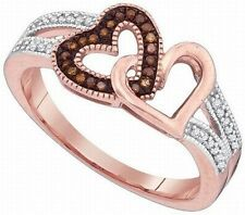 .15 Ct Chocolate Red And White Diamonds Hearts In Rose Gold Ring Size 7