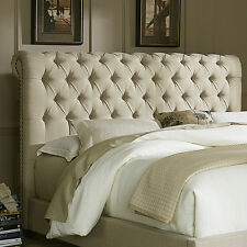 Upholstered Headboard Tufted Details Scotchgard Protected - Taupe