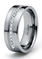 New Men's Tungsten Carbide Diamond wedding band Ring 0.22 carat +2 year Warranty