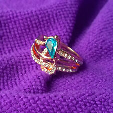 18K Rose Gold Plated Blue Crystal Rings Elegant Jewelry CZ Rhinestone Engagement