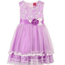 Girl Dress Pink/Purple Flower Bow Lace Party Pageant Bridesmaid Children Clothes