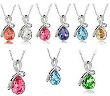 New Eternal Love Teardrop Swarovski Elements Crystal Pendant Necklace