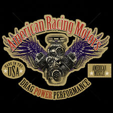 American Racing Motors Drag Power Performance Hot Rat Rod Car T-Shirt Tee