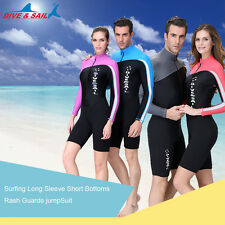 New Surf Long Sleeve Short Bottom Rash Guard Scuba Suit Swimwear Dive JumpSuit