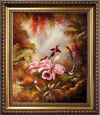 Original French Impressionism Oil Painting Art on Canvas with Frame Flower bird