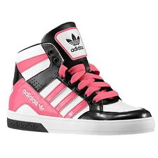 Youth / Womens Adidas Hard Court Block Sneakers New, White / Pink D74421