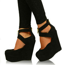 New Womens High Heel Wedges Cut Out Pumps Ladies Strappy Platform Shoes Size UK