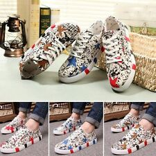 New Male Casual  Lace Up Canvas Skateboard Sneakers Ink Printing Sports Shoes