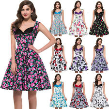 Rockabilly 50s 60s Vintage Retro Housewife Evening Swing Pinup Floral Prom Dress