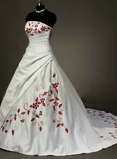 New Stock White/Red Embroidery Wedding Dress Bridal Gown Size 6/8/10/12/14/16/18