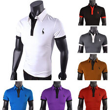 Mens Polo Shirt Tops Short Sleeve Slim Fit Stylish Casual T-shirts Tee UK S-XXL