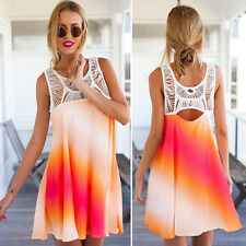 New Fashion Women Summer Lace Sleeveless Casual Floral Party Mini Dress