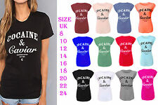 Women Cocaine and Caviar Print Roll Up Cap Sleeve Womens Top T-Shirt All Sizes