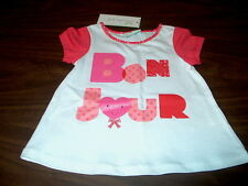 "NWT First Impressions Play Girls 6/9, 24 Months White Shirt ""Bon Jour"" Glittery"
