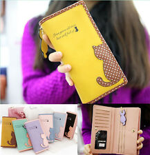 womens leather wallet cat purse clutch wallet long card holder mobile bag ZZ