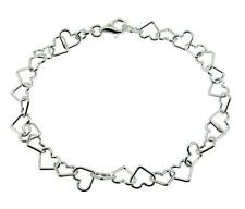 925 Solid Sterling Silver Light Heart Link Ankle Bracelet Anklet