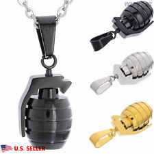 VALYRIA Men's Women's 316L Stainless Steel Hand Grenade Pendant Necklace 22'' US