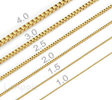 18K Gold Plated Mens Womens Stainless Steel Box Chains Necklaces Fast Ship