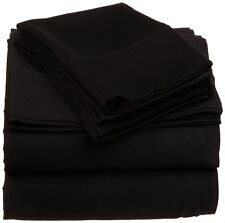 "4 PCS sheet set Luxurious in Extra Deep Pocket (5""-30"") Black Solid_1000TC"